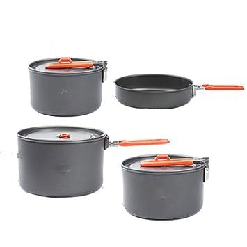 Ollas y sartenes Gris para 4-5 Personas al Aire Libre Juego de Utensilios de Cocina ...