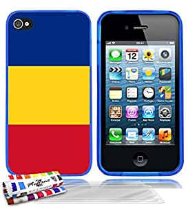 Carcasa flexible Ultrafina Azul Original de MUZZANO estampada Bandera Rumania para APPLE IPHONE 4 + 3 películas de protección UltraClear para la pantalla