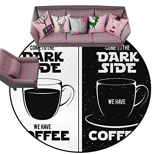 Baby Crawling Area Mats Galaxy,Come to The Dark Side We Have Coffee Funny Quote Space Wars Between Black and White,Black White Diameter 66