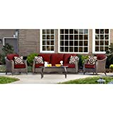 Cheap Hanover Outdoor Furniture Gramercy 4Piece Wicker Patio Seating Set, Crimson Red