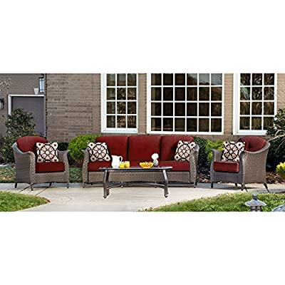 "Hanover GRAMERCY4PC-RED Furniture Gramercy 4-Piece, Crimson Red Outdoor Wicker Patio Seating Set - SET INCLUDES: One deep-cushioned sofa, two matching arm chairs, a coffee table and four decorative accent pillows HEAVY DUTY STEEL FRAME: Powder coated steel to resist rust GENEROUS CUSHION SIZE: 5"" UV protected cushions offer maximum comfort while fashionable toss pillows are included to complete the style and enjoyment. - patio-furniture, patio, conversation-sets - 51xXI4oXgVL. SS400  -"
