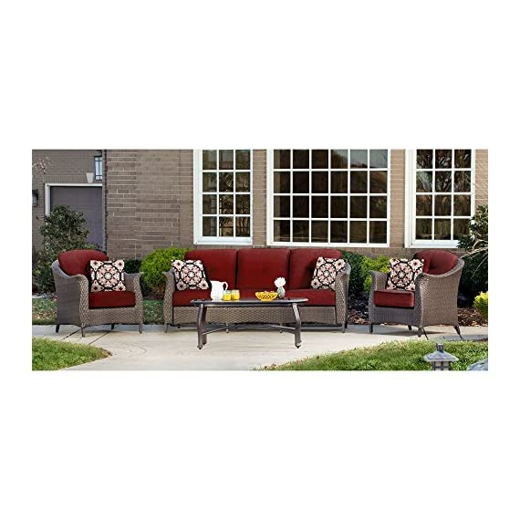 """Hanover GRAMERCY4PC-RED Furniture Gramercy 4-Piece, Crimson Red Outdoor Wicker Patio Seating Set - SET INCLUDES: One deep-cushioned sofa, two matching arm chairs, a coffee table and four decorative accent pillows HEAVY DUTY STEEL FRAME: Powder coated steel to resist rust GENEROUS CUSHION SIZE: 5"""" UV protected cushions offer maximum comfort while fashionable toss pillows are included to complete the style and enjoyment. - patio-furniture, patio, conversation-sets - 51xXI4oXgVL. SS570  -"""