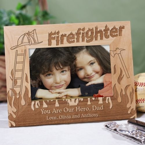 Firefighter Wood Frame - GiftsForYouNow Personalized Firefighter Wood Picture Frame, Holds 4x6 or 3x5 Photo