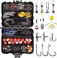 Fishing Tackle Accessories Kit - 286Pcs/Box Including Fishing Hooks, Swivel Snap, Sinker Weight, Treble Hooks,