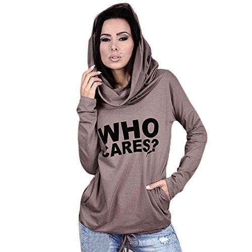 Pikolai Women Letter Print Long Sleeve Casual Sweatshirt T-Shirt Tops Blouse (M, Khaki)