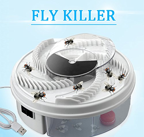 E-ZONED Electric Fly Trap Device, Automatic USB Powered Fly Catcher Killer with Trapping Food+USB Cable+Brush Tool Suitable for Home Hotel Restaurant ()