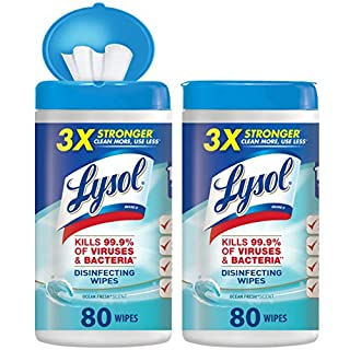 Lysol Disinfecting Wipes, Ocean Fresh, 160ct (2X80ct), Packaging May Vary