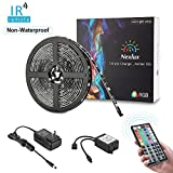 led lights changing color strip - Color Changing Light Strip, Nexlux 16.4ft Non-waterproof LED Light Strip 5050 SMD RGB LED Flexible Strip Light Black PCB Board Decoration Lighting 44 key IR Remote Controller UL Power Adapter