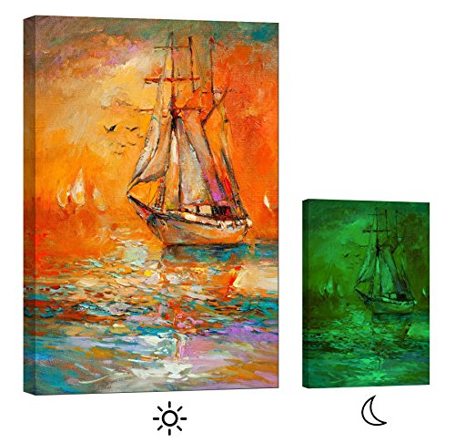 ainting Sailboat With Red Sky - Master Bedroom Living Room Decor