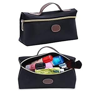 Makeup Bag, Portable Travel Cosmetic Pouch Womens Toiletry Case Handy Organizer (Black)