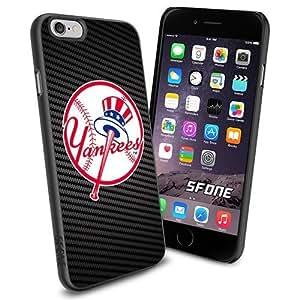 MLB, New York Yankees Baseball Carbon Fiber BG iphone 6 plusd 5.5 Smartphone Case Cover Collector iPhone TPU Rubber Case Black