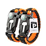 TECH-P 5 in 1 Multifunctional Paracord Bracelet with Compass Flint Fire Starter Scraper Whistle- 2 Pack (Yellow with black line)