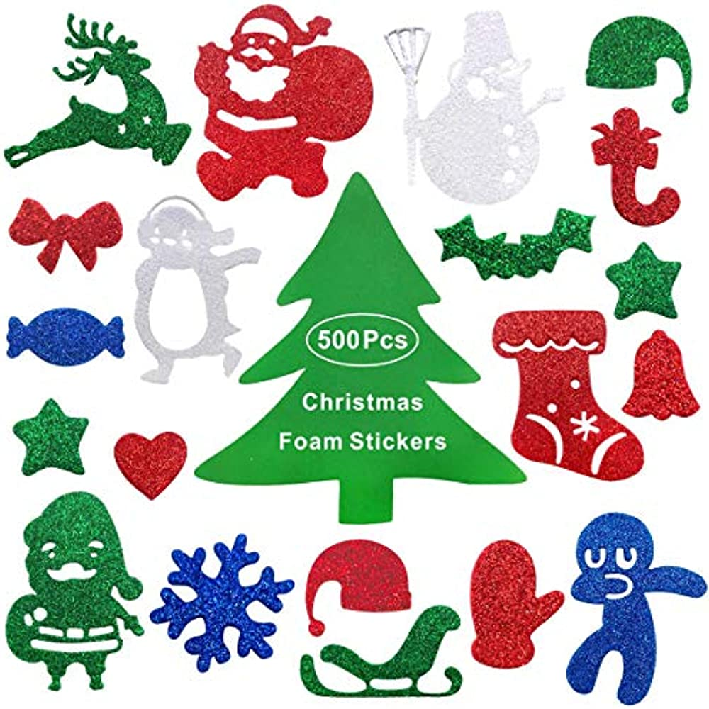 Heboland 500Pcs Christmas Xmas Foam Stickers Glitter Self ...