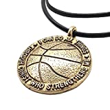 Phil 4:13 Basketball Necklace 'I Can Do All Things Through Christ' In Gold