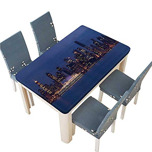 PINAFORE Indoor/Outdoor Spillproof Tablecloth The Lights of Downtown Vancouver Canada at Dusk The City Will Wedding Restaurant Party Decoration W33.5 x L73 INCH (Elastic Edge)
