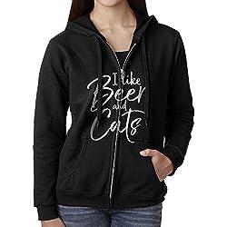 Womens Hoodie Sweatshirt I Like Beer And Cats Long Sleeve Zip-up Hooded Sweatshirt Jacket L