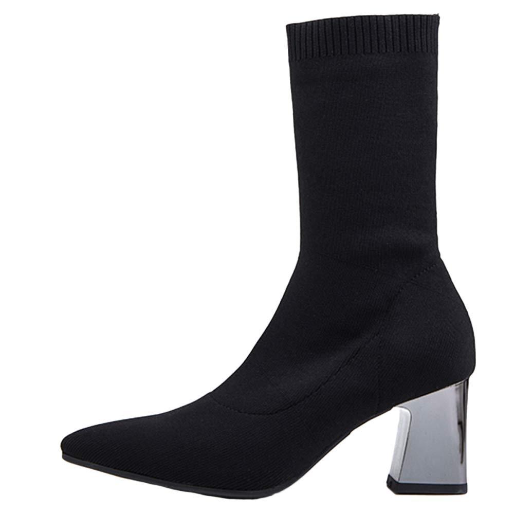 QQWE Damen Stiefel Wies Toe Chunky Oberschenkel Hoch über Dem Knie Elastische Stiefel Schwarz Damen Schuhe