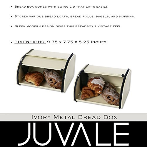 Juvale Bread Box For Kitchen Counter - Stainless Steel Bread Bin Storage Container with Roll Top Lid for Loaves, Pastries, and More - Retro/Vintage Inspired Design, Cream, 10 x 8.5 x 5.5 Inches by Juvale (Image #3)