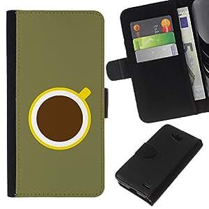 KLONGSHOP // Tirón de la caja Cartera de cuero con ranuras para tarjetas - Café minimalista Oliva Verde Amarillo - LG OPTIMUS L90 //