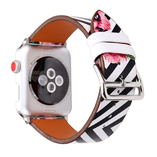MeShow TCSHOW 38mm 40mm Classic Black White Stripe with Floral Style Strap Wrist Band with Silver Metal Adapter Compatible for Apple Watch Series 4 3 2 1 (K)(Not fit for iwatch 42mm/44mm)