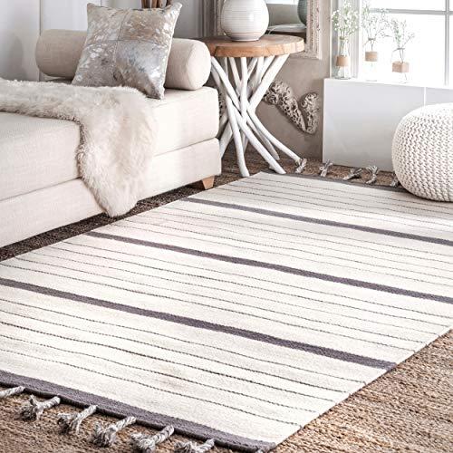 nuLOOM JLVN01A Striped Alea Wool Rug, 7' 6