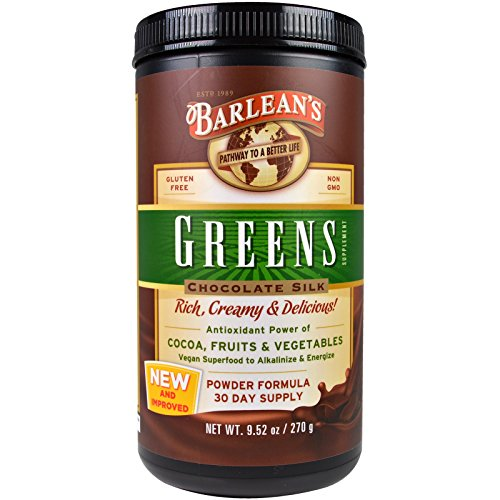 Barlean's, Greens, Chocolate Silk, Cocoa, Fruits and Vegetables, 9.52 Ounces (270 Grams) - 2 Pack