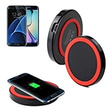 Bessky For Samsung Galaxy S7/S7 EdgeHigh Quality Qi Wireless Charger Charging Pad (Red)
