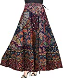 Modern Kart Women's Cotton Wrap Around Skirt with Elegant Print (MKSKT068, Blue, Free Size)