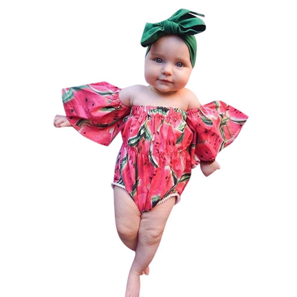 NUWFOR Infant Baby Girl Kid Off Shoulder Printed Romper+ Headband Bodysuit Outfits Set(Red,18-24Months)