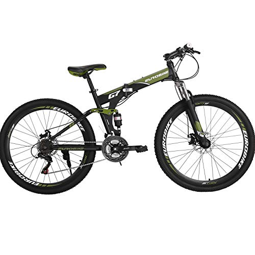 Eurobike Folding Mountain Bike 21 Speed Full Suspension Bicycle 27.5 inch MTB (ArmyGreen) - Folding Bike Suspension