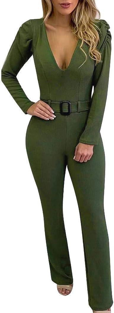 Strir Mujer Mono Elegante Largas Otono Casual Pantalones Ropa Vestir Cintura Alta Cuello En V Vendaje Ajustado Sexy Trajes Piernas Anchas Amazon Es Ropa Y Accesorios