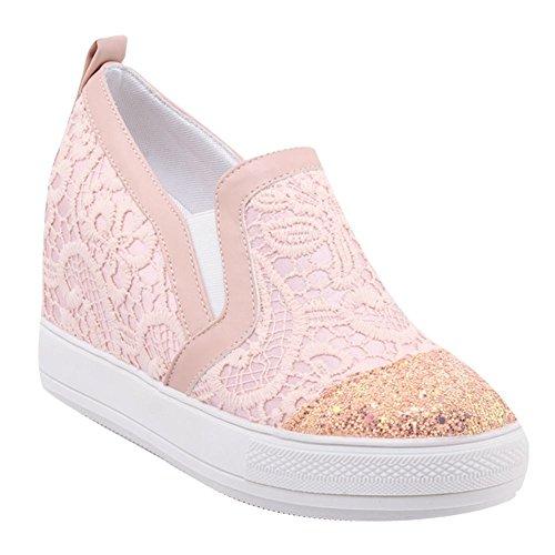 Carolbar Womens Sweet Lolita Lace Sequins Platform Wedges Loafer Shoes Pink G7VLh