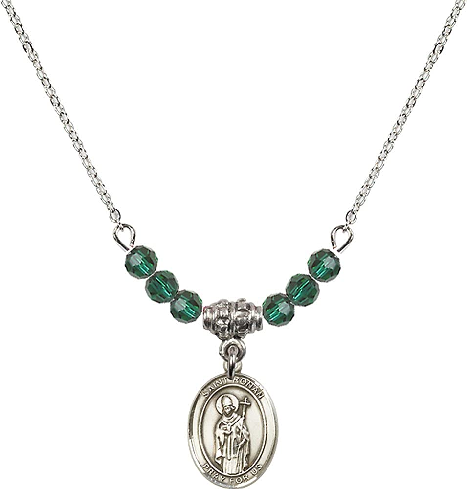 18-Inch Rhodium Plated Necklace with 4mm Emerald Birthstone Beads and Sterling Silver Saint Ronan Charm.