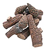Skyflame 10 Small Piece Set of Ceramic Wood Logs and Accessories for All Types of Indoor Gas Inserts, Ventless & Vent Free, Propane, Gel, Ethanol, Electric or Outdoor Fireplaces & Fire Pits