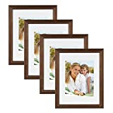 11x14 frame with mat espresso - DesignOvation Kieva Solid Wood 11x14 matted to 8x10 Picture Frames, Distressed Espresso Brown, Pack of 4
