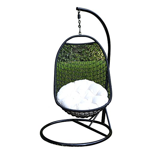 Wicker Rattan Swing Lounge Chair Weaved Egg Shape Hanging Hammock In or Out Door Patio Porch - BLACK / Khaki