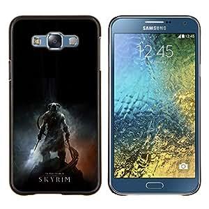 Skyrim- Metal de aluminio y de plástico duro Caja del teléfono - Negro - Samsung Galaxy E7 / SM-E700
