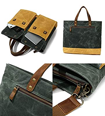 Canvas Leather crossbody tote bag-Large Handbag Messenger Travel Hand Carrry Waxed Shoulder bags
