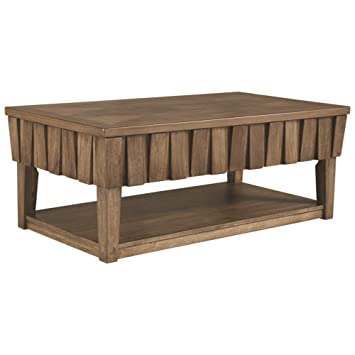 Ashley Furniture Signature Design Rowenbeck Lift Top Coffee Table With Open Shelf Brown
