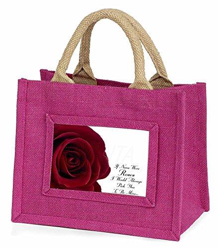 Advanta rot Rose Nan Love Sentiment Little Mädchen Einkaufstasche Weihnachten Geschenk, Jute, pink, 25,5x 21x 2cm