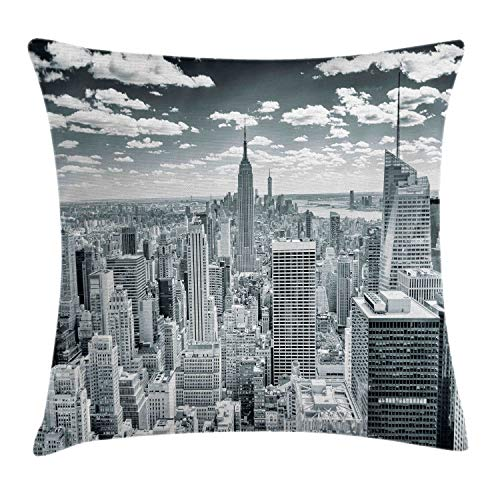 Ambesonne New York Throw Pillow Cushion Cover, NYC Over Manhattan from Top of Skyscrapers Urban Global Culture City Panorama, Decorative Square Accent Pillow Case, 16