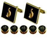 Select Gifts Stewards Gold Cufflinks Masonic 5 Shirt Dress Studs Box Set