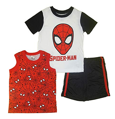 (Marvel  Boys 3PC Shirts and Short Set with Avengers Superheroes (Spider-Man White,)