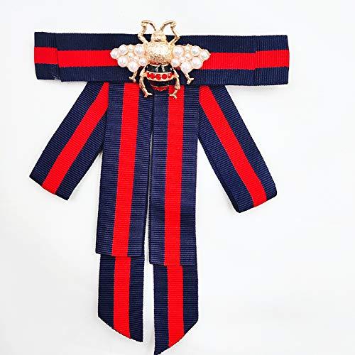 Satin lace Ribbon Bow Tie Brooch Pin for Women Girls Men Shirt Tie Jabot Collar Neck Tie Cravat Wedding (Butterfly-Lt - Bow Topaz
