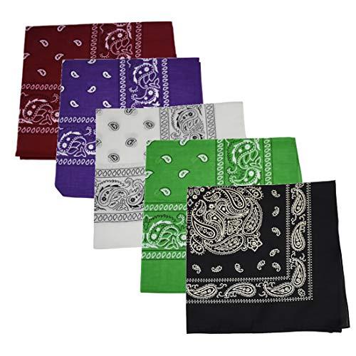 Motique Accessories Set of 5 Large Cotton Paisley Bandanas