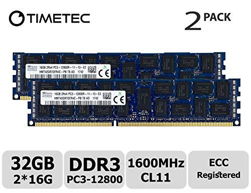 (Timetec Hynix Original 32GB Kit (2x16GB) DDR3 1600MHz PC3-12800 Registered ECC 1.5V CL11 2Rx4 Dual Rank 240 Pin RDIMM Server Memory RAM Module Upgrade (32GB Kit (2x16GB)))
