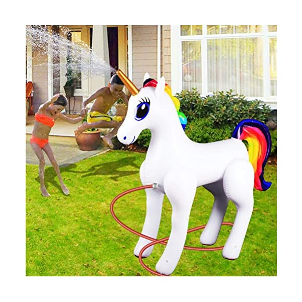 Giant Inflatable Sprinkler Unicorn for Outdoors Yard Lawn for Kids and Adults 6 Ft High 8
