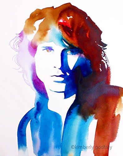 Jim Portrait Morrison (Jim Morrison Original Watercolor Painting Portrait 1960s Fashion Retro Vintage Salon Art)