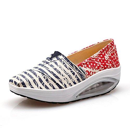 guida Autunno Slip Guida Fitness Scarpe Shoes Singole Running da Flat Wild Sneakers B Primavera Tela Di E Heels Shake Mocassini Da Shaking Donna Slope wqXPvC