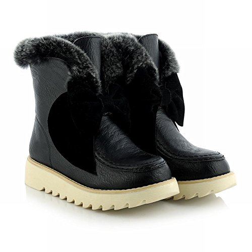 Carolbar Womens Faux Fur Fashion Bows Cold Weather Comfort Casual Warm Snow Boots Black pIuKNXQ